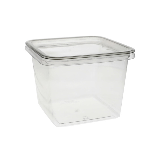 6 in Sq. 60oz Clear Container w/Flat Lid