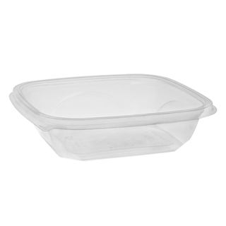 "24 oz 7"" x 7"" Clear Square Bowl Base"