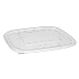 24-32 oz Clear Sq Bowl Flat Lid 7 X 7
