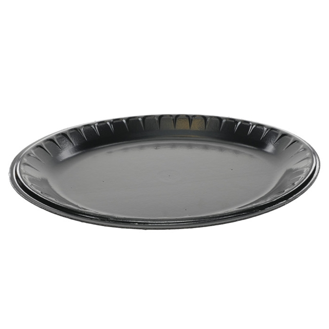 "10"" X 12.5"" Black Oval Foam Platter"